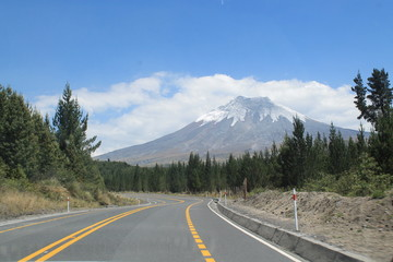 Route inside the Cotopaxi's National Park in Ecuador