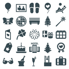 Set of 25 holiday filled icons