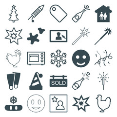 Set of 25 new filled and outline icons