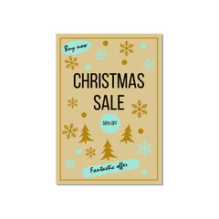 Christmas sale poster design template