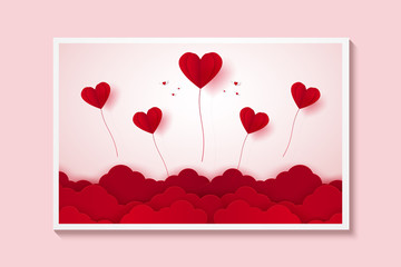 Valentines day , Illustration of love , Picture of red heart balloons flying on sky , paper art style