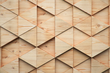 Wood triangular Abstract polygonal background from wooden, 3d render