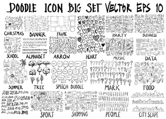 MEGA set of doodles vector collection of Christmas, ribbon, frame, heart, party, business, school, alphabet, arrow, music, info, summer, tree, bubble, mark, food, 2018, sport, shop, human, city scape