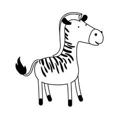zebra cartoon black silhouette in white background vector illustration