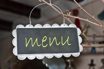 alerts and ads on a small blackboard: menu