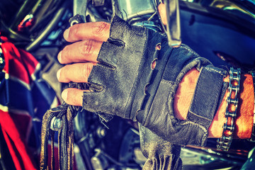 Close up of biker gloves