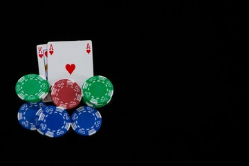 Close-up of cards and chips during blackjack game