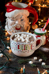 Hot chocolate Christmas mug with holiday scene