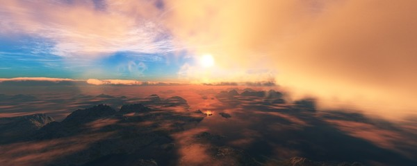 view from an airplane on a mountain landscape, 3D rendering
