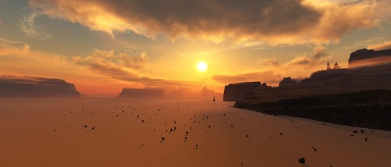 Sunset by the canyon, desert and rocks at sunset,, 3d rendering