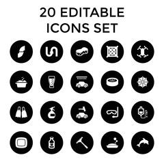 Water icons. set of 20 editable filled water icons