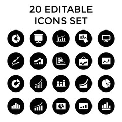Diagram icons. set of 20 editable filled diagram icons