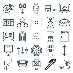 Set of 25 digital outline icons