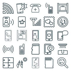 Set of 25 cell outline icons