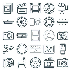 Set of 25 film outline icons