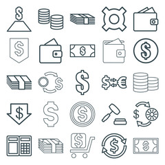 Set of 25 exchange outline icons