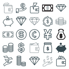 Set of 25 rich outline icons