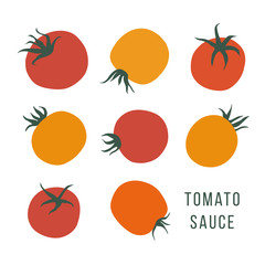 Set of hand drawn tomatoes on the white background. Stylized food illustration