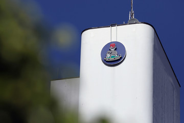 Logo of the Nigeria Police Force seen on top of the Louis Edet House, headquarters of the police in Abuja