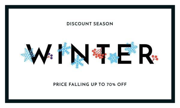 Winter sale discount season banner or poster design template. Vector winter holiday sale discount shopping text for price off reduce falling in frame on white snow and snowflakes background