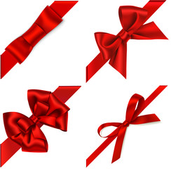 Vector set of red bow with diagonaly ribbon on the corner for gift decor