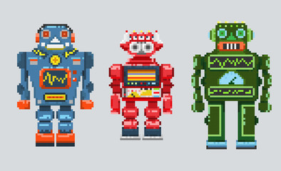 Three pixel robots