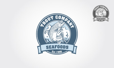 Seafood logo with salmon in emblem style. Vector vintage fish for your logo design. It's good for trout farm, fishing club, or seafood restaurant.