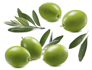 Green olives leaves set isolated on white background