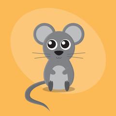 Mouse cartoon flat card