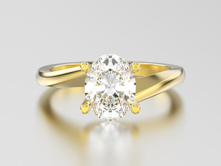 3D illustration yellow gold engagement illusion twisted ring with diamond