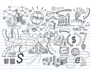 Hand Drawn Business on lined notebook paper,Doodles vector illustration.