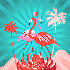Tropical background with palm trees and flamingo