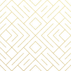 Abstract geometric golden seamless pattern background with gold glitter lines texture. Vector ornate geometry pattern of rhombus and metal golden lines for luxury ornate white backdrop design template