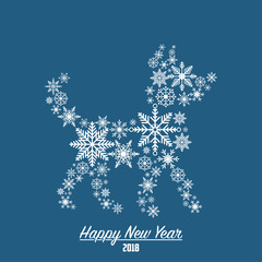 2018 Happy New Year card with dog made from snowflakes. Vector illustration.
