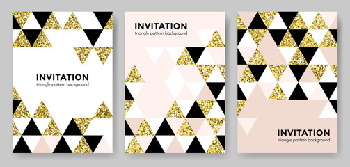 Abstract geometric gold pattern background for invitation card design template of square and triangle modern trendy golden elements. Vector geometry backdrop or gold glitter texture poster background