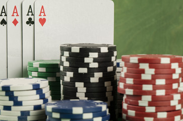 poker game with chips on green background