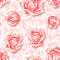 Floral seamless pattern. Watercolor background with beautiful roses 2