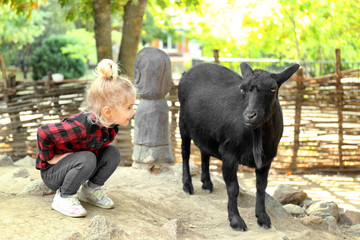 Cute little girl with goat on farm
