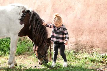 Cute little girl with horse on farm