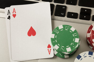 laptop computer and online gambling theme
