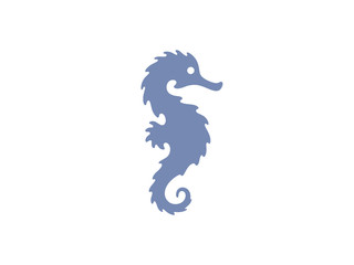 Seahorse silhouette isolated on white. Sea horse vector illustration