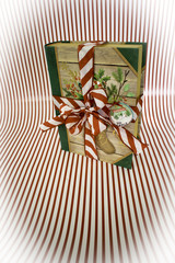 Gift Box Standing of Striped Background