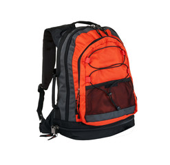 Red backpack isolated on white background.