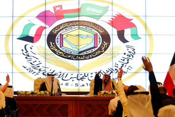 Kuwait's Foreign Minister Sabah Al Khalid Al Sabah gestures during a news conference with Secretary-General of the Gulf Cooperation Council (GCC) Abdullatif bin Rashid Al Zayani, following the annual summit of GCC, in Kuwait City