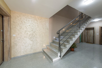 Luxury staircase of marble in residential building
