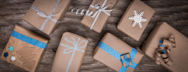 Christmas decorated handmade gift boxes background