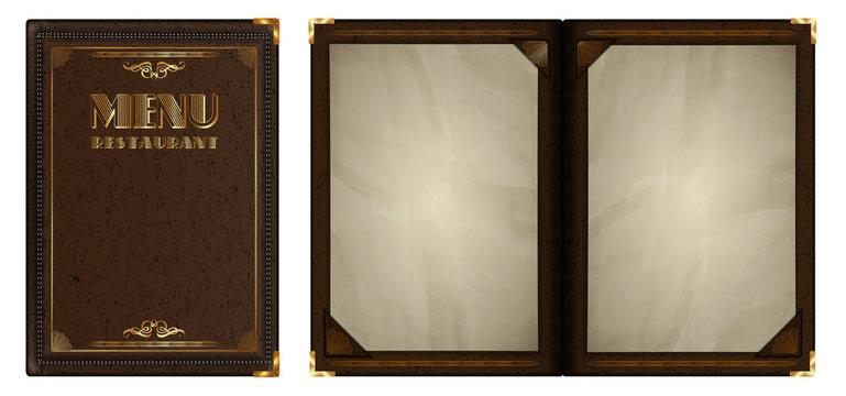 restaurant menu gold leather notepad