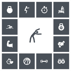 Set Of 13 Editable Lifestyle Icons. Includes Symbols Such As Heft, Exercise, Stopwatch And More. Can Be Used For Web, Mobile, UI And Infographic Design.