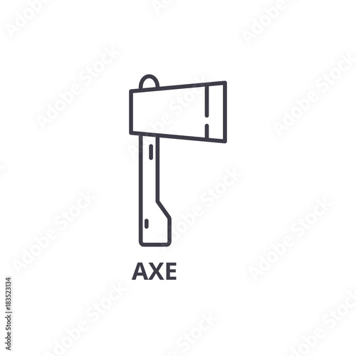 Axe Line Icon Outline Sign Linear Symbol Flat Vector Illustration
