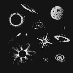 Vector illustration with space objects. Hand drawn style.Collection set.Prints design